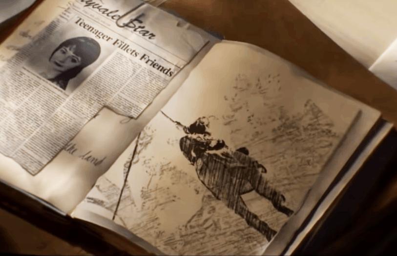 Appunti che mostrano uno schizzo con la strega Sarah Fier impiccata,