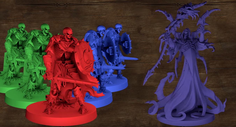 cinque scheletri e il loro capo, il signore dei non morti, con una veste lunga e la falce in pugno