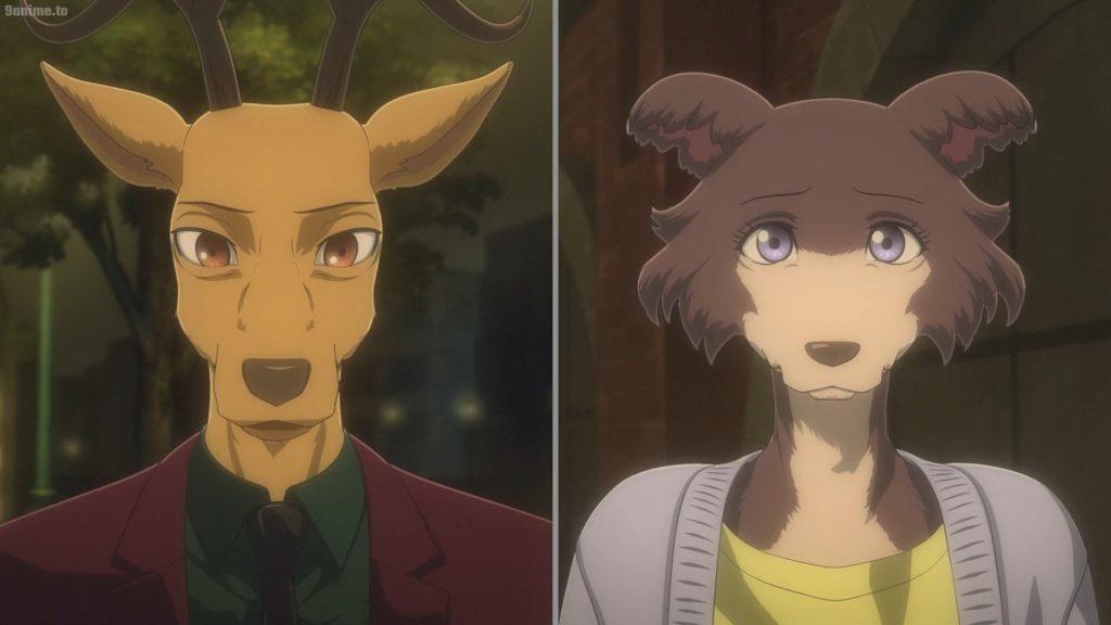 Louis, il cervo di Beastars, e la lupacchiotta Juno. Entrambi sembrano un po' perplessi.